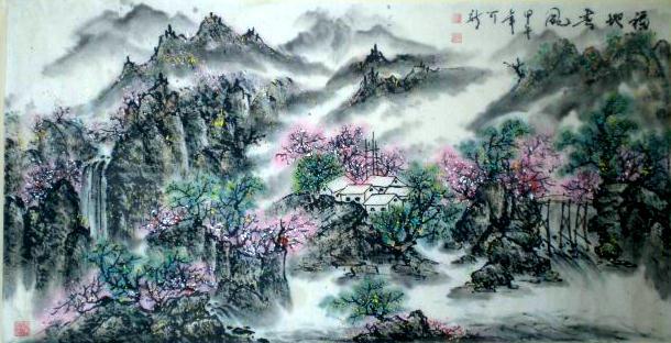 青灰色山中国风素材