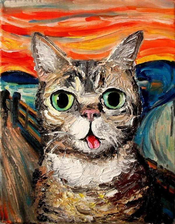 现代油画作品欣赏 猫