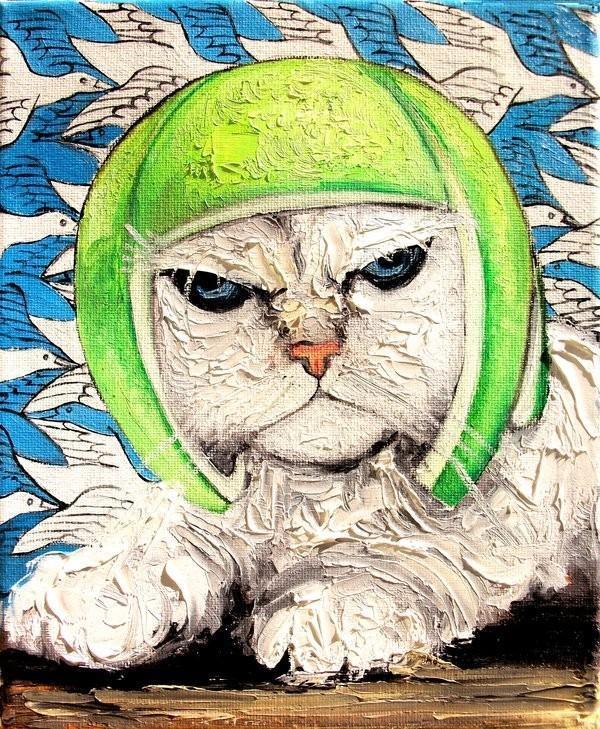 现代油画作品欣赏:猫