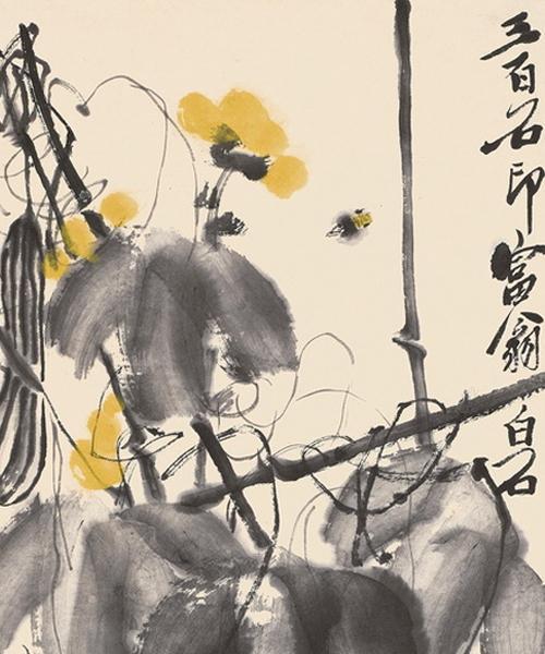 齐白石作《丝瓜蜜蜂》国画鉴赏(组图)图片