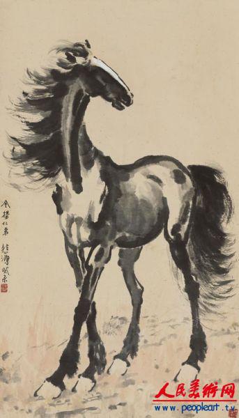 与画马相比,徐悲鸿画鹤并不多见.