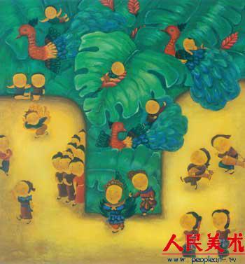 傣族孔雀儿童画