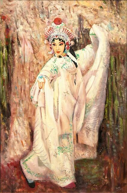 米巧铭京剧油画作品:《白蛇传之白素贞》95cm*147cm 2011年作