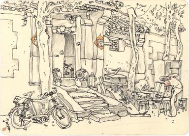 巴黎时装设计铅笔手稿