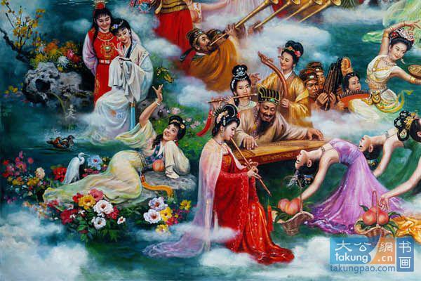 下线:贾宝玉林黛玉,史湘云,王母近卫乐队(见下),三舞妓(和另外五仙