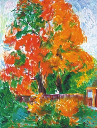 枫树的风景画,运动的笔触让画面充满着动感和生机,树叶茂盛而郁郁葱葱