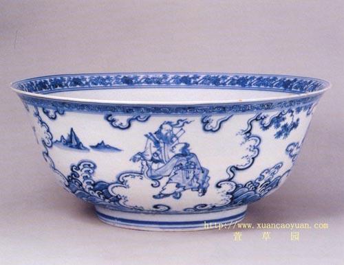 图2.明代青花八仙过海图碗.北京故宫藏品
