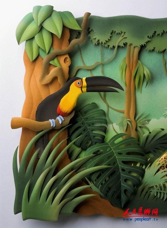 卡洛斯梅拉(Carlos Meira),巴西剪纸艺术家,擅长纸塑艺术。他将各色纸张进行雕塑修剪再重新拼贴,组成一幅画作。这是一种独特而新颖的艺术表现形式,结合了摄影、雕塑、剪纸等多种艺术形式,是浮雕作品,是摄影作品,是绘画作品,是剪纸作品,是舞台设计作品。 Carlos Meira已经将纸雕艺术玩到出神入画的地步了。他的作品华丽而疯狂,精致的细节甚至令人惊吓。富有民族风情的人物和颜色、加上独特的主题,更是添加了趣味,带来新鲜的滋味。Carlos Meira的作品还是杂志封面和广告的宠儿,无论是单