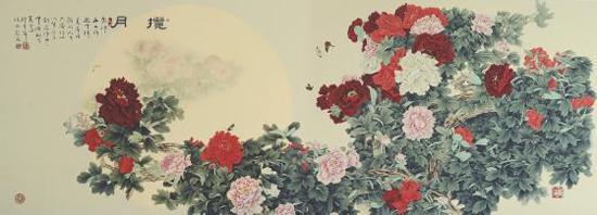 《揽月》 工笔画 300x150 悬挂于中国航天员贵宾室