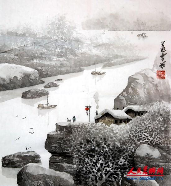 吕德品雪境山水画作品欣赏