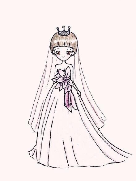 简笔画风格的唯美彩铅婚纱人物画创作欣赏(组图)