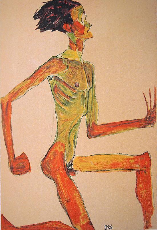 人体 席勒/埃贡·席勒 侧面的人体50cmx44cm 版画2007