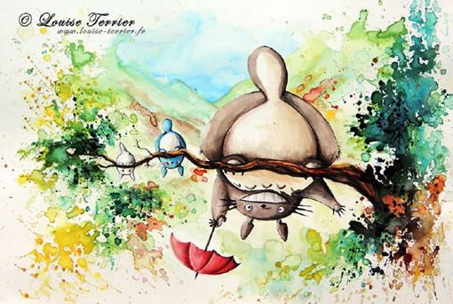 宫崎骏经典动画的场景水彩画图片