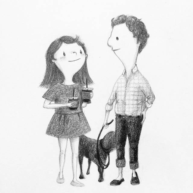 爱意满满的手绘情侣婚礼及日常生活的人物插画