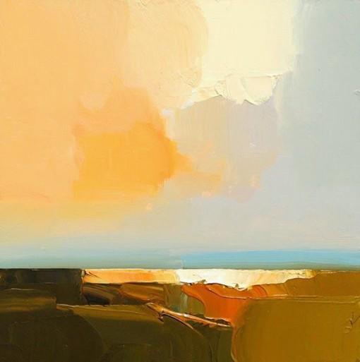 大色块表现的意境风光油画