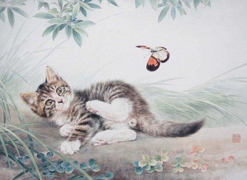 猫咪插画图片