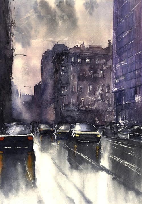 城市水彩画