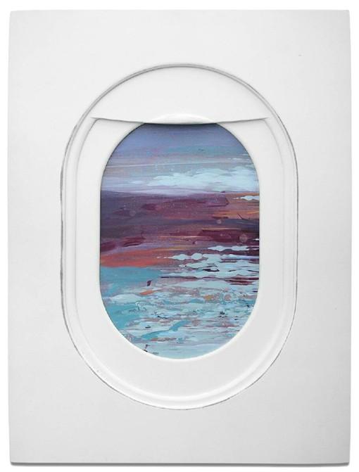 以飞机窗外的风景为主题的手绘水彩画作品