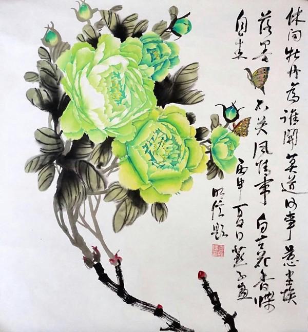 女画家王赛燕国画牡丹欣赏