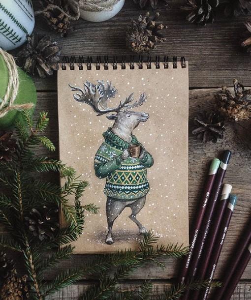 很童话故事感觉的小动物彩铅绘画作品