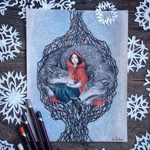 很童话故事感觉的小动物彩铅绘画作品欣赏(组图)