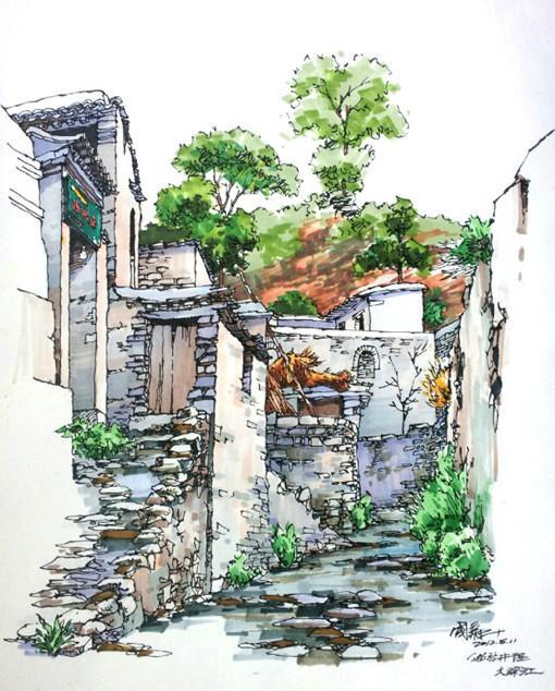 国人画师卢国新的马克笔建筑绘画写生作品欣赏(组图)