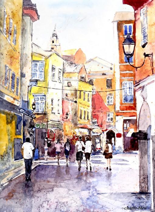 插画师chatte bleu的唯美城市街景水彩画绘画