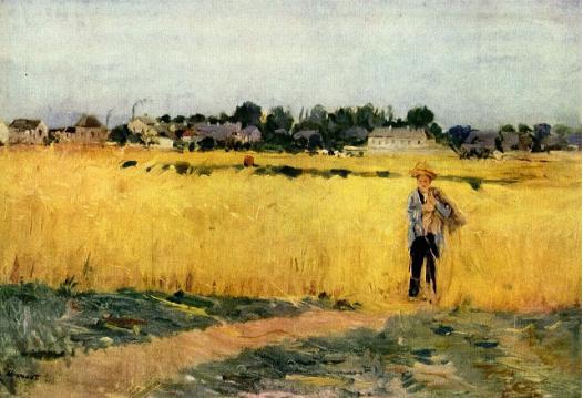 丰收的麦田 Grain Field,贝尔特莫里索 Berthe Morisot,1878 她的画技毫不逊色于其他人,评论家称赞她的画充满了让人赏心悦目的细腻。 可是在那个艺术学院不接受女性的时代,在那个女子弹琴唱歌绘画只为了在客厅取悦客人的时代,她的才华是无用的才华。 没有人期待她成为一个职业画家,她做一个女人就足够了。想成为一个画家,想得到作为一个画家的肯定,在那个时代,对一个女人而言是那么难。 莫里索的焦虑来源于此。