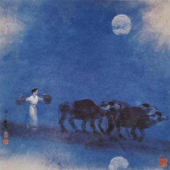 月夜风景人物彩铅画