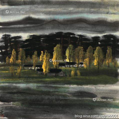 林风眠设色纸本《风景》65×63厘米,1996春嘉德22万元成交