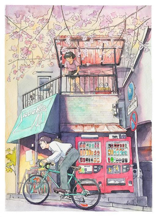 插画师Mateusz Urbanowicz日系单车自行车水彩画