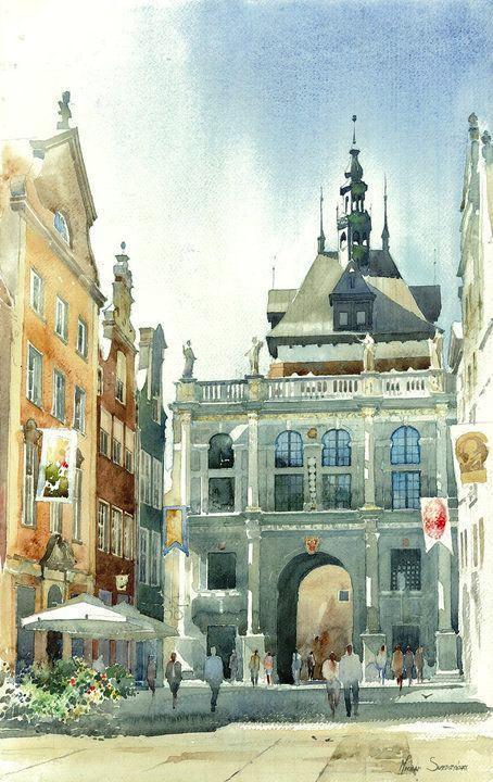 插画师Michal Suffczynski 的欧洲建筑风光水彩画