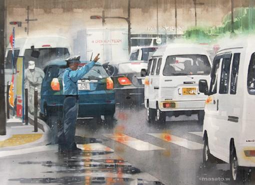 水彩画家渡部政人的日本城市街头风光水彩画