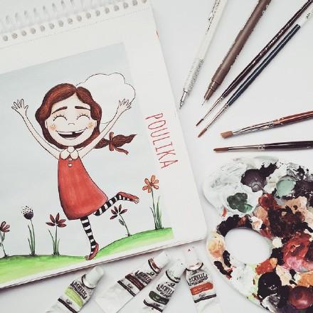 插画师poulika的小清新风格趣味插画