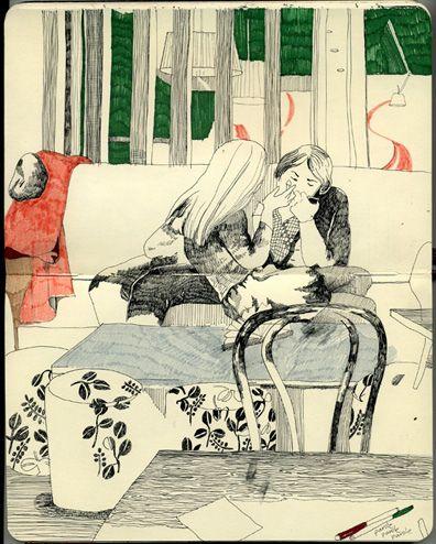 插画师Ekaterina Khozatskaya的城市酒吧涂鸦绘本作品