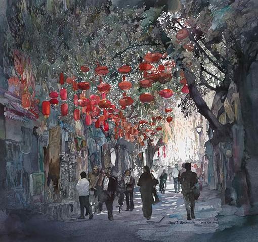 插画师John Salminen的中国街头风光水彩画图片