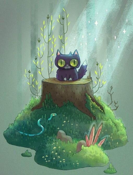 Alena Tkach童话风格的小黑猫插画作品