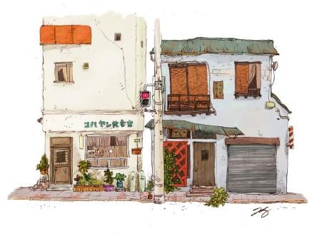 一组漂亮的老房子场景插画