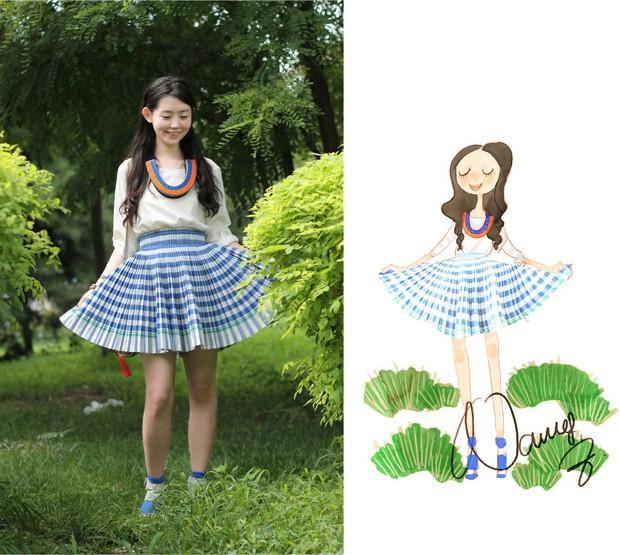 美女插画师张小溪的穿搭手绘插画图片