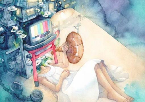 关于少女与怪诞的梦境的唯美日系插画