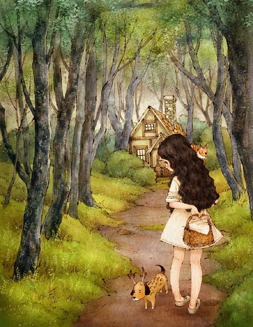 浪漫唯美的童话风女生插画作品