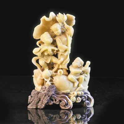 青田石雕代表作品《丰收》 展览方供图