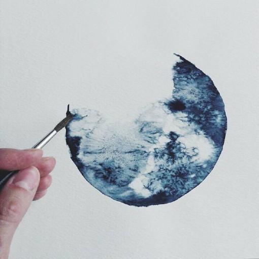 插画师Michal Friese的月亮水彩画图片
