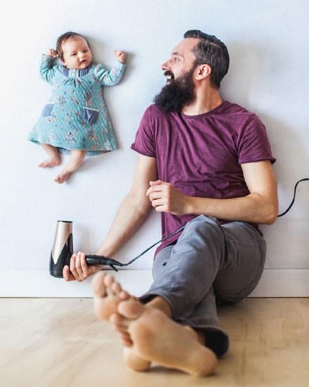 超有愛的父親與女兒的創意攝影照片
