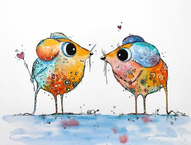可爱小动物手绘插画图片