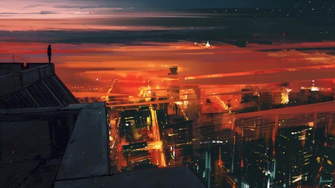 城市黃昏降臨唯美插畫圖片