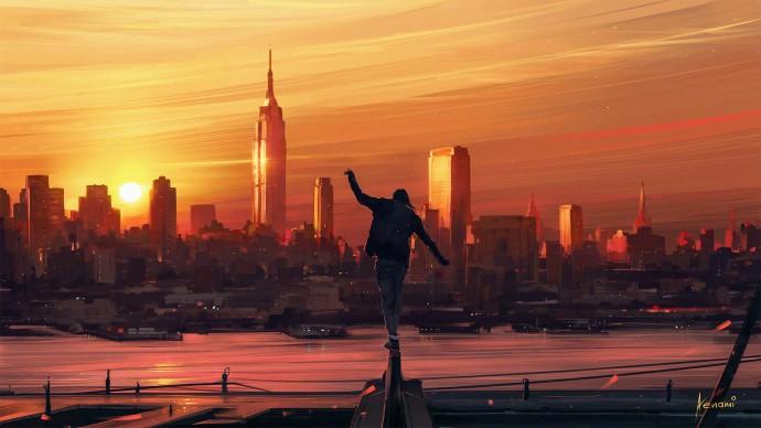 城市黄昏降临唯美插画图片