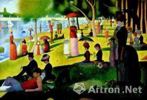 图为芝加哥艺术学院所收藏的新印象画 派 (点彩派) 代表性画家修拉的名作《大碗岛的星期天下午》。