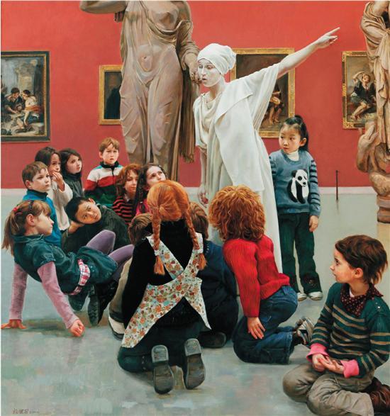 杨健男(天津美术学院) 博物馆里的孩子 150×200cm 布面油彩