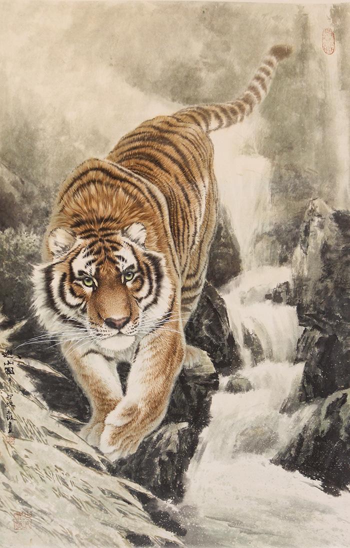 """动物画名家(组图)  名家评论: 著名美术史论家王伯敏评论:""""画虎画家中"""
